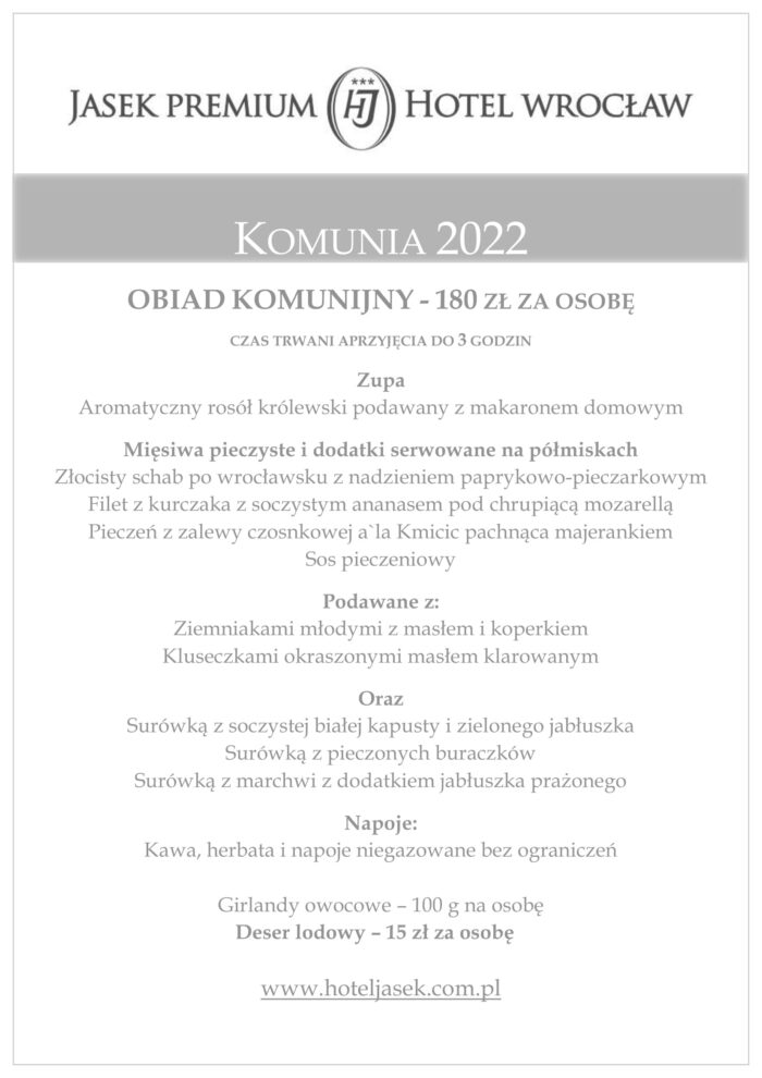 Komunia 2022 w Jasek Premium Hotel Wrocław